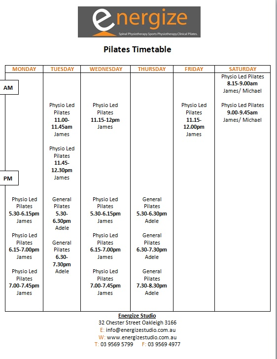 pilates timetable July 2018