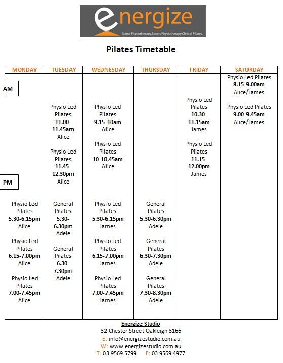 Pilates timetable April 2018