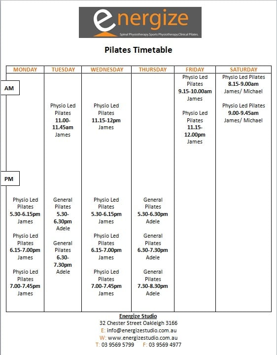 Pilates timetable August 2018