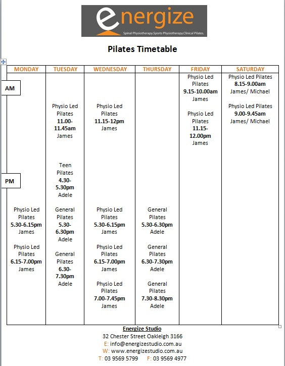 Pilates timetable october