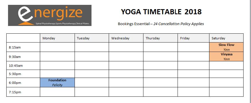 yoga timetable Sept