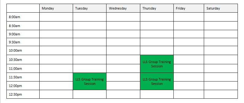 LLS Group training timetable